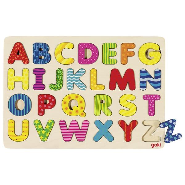Puzzle din lemn cu 26 de litere multicolore- Alfabet imagine edituradiana.ro