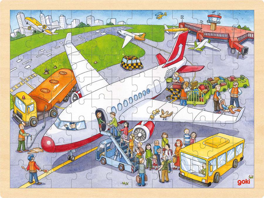 Puzzle din lemn - La aeroport imagine edituradiana.ro