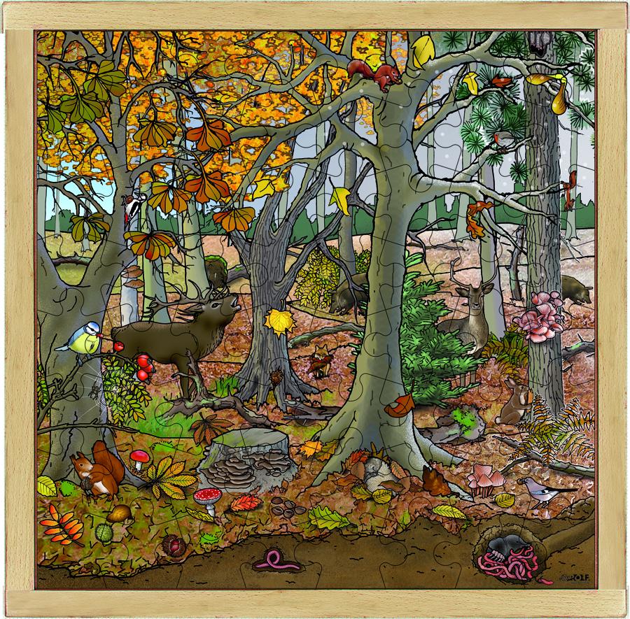 Puzzle din lemn - În pădure toamna-iarna 64 pcs imagine edituradiana.ro
