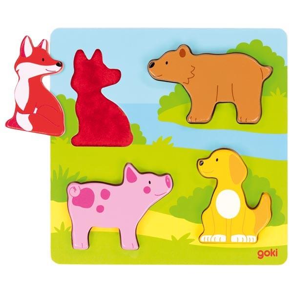 Puzzle tactil cu 4 piese din lemn imagine edituradiana.ro