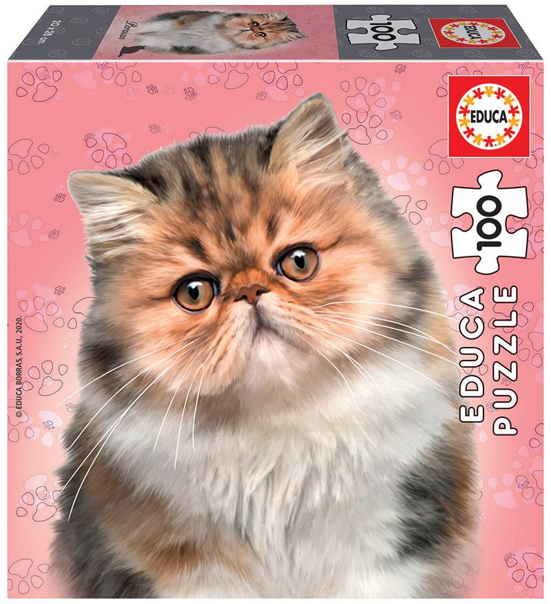 Puzzle cu 100 de piese în mini cutie tip cub - Pisică persană imagine edituradiana.ro