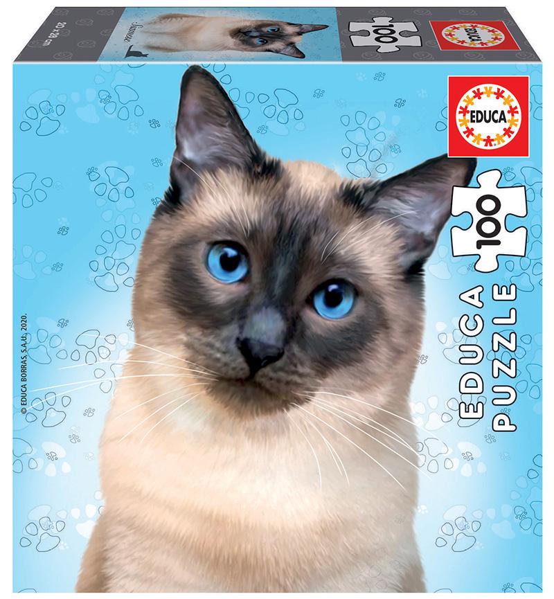Puzzle cu 100 de piese în mini cutie tip cub - Pisică siameză imagine edituradiana.ro