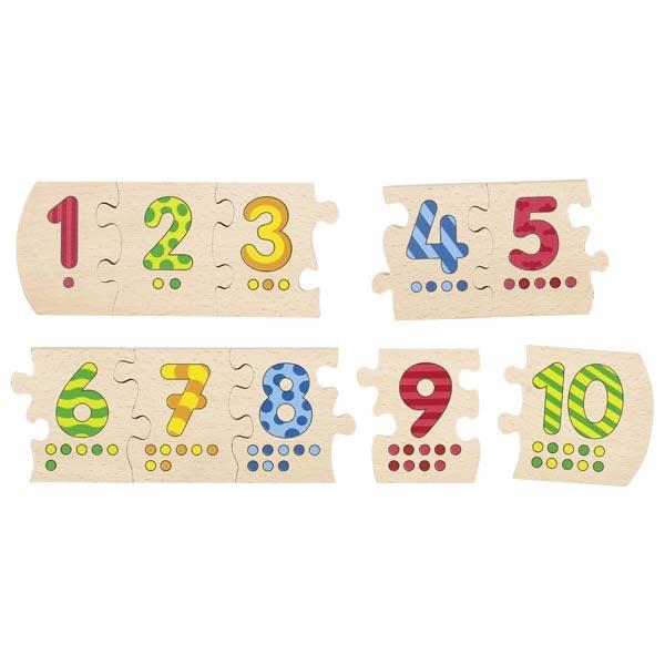 Puzzle cu 10 piese din lemn - Numerele până la 10 imagine edituradiana.ro