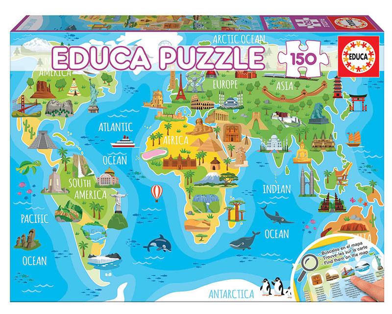 Puzzle cu 150 de piese - Harta lumii cu monumente imagine edituradiana.ro