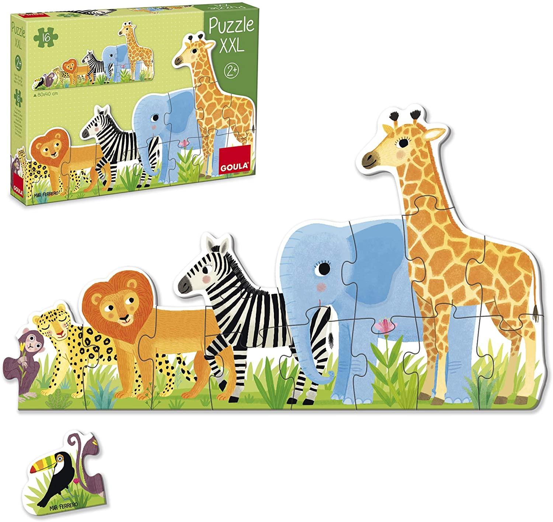 Puzzle cu 16 piese XXL - Animalele din junglă de la mic la mare imagine edituradiana.ro