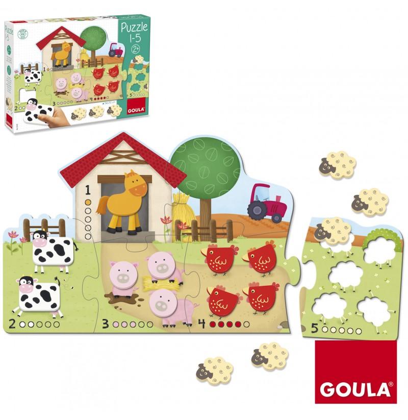 Puzzle cu 21 de piese din lemn și carton - Numărăm de la 1 la 5 imagine edituradiana.ro