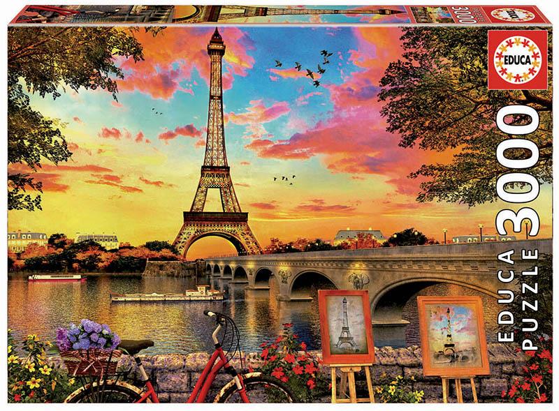 Puzzle cu 3000 de piese - Apus de soare în Paris imagine edituradiana.ro