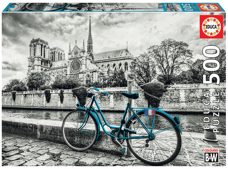 Puzzle cu 500 de piese - Bicicletă lângă Notre-Dame din Paris imagine edituradiana.ro