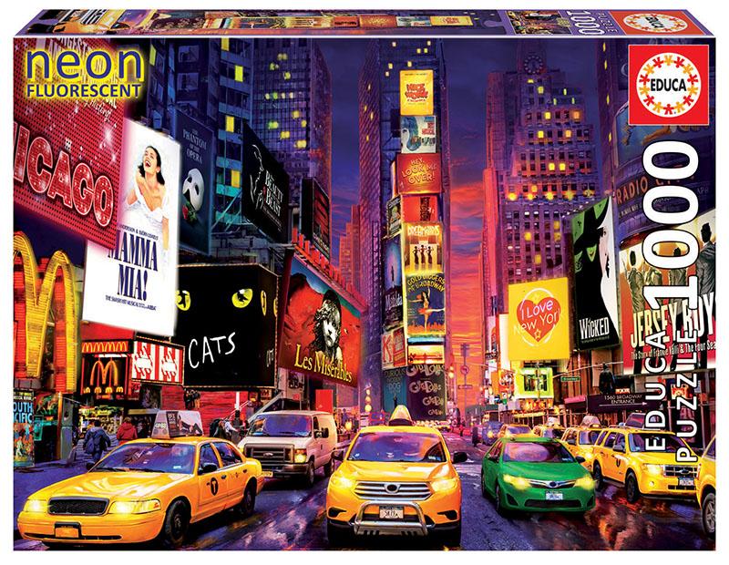 Puzzle fosforescent cu 1000 de piese - Times Square, New York imagine edituradiana.ro