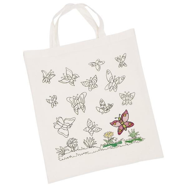Sacoșă textilă de colorat – Fluturi, 38 x 42 cm imagine edituradiana.ro