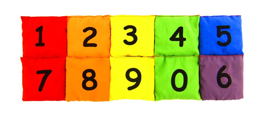 Set 10 pernuțe umplute cu granule de polistiren - Numerele de la 0 la 9 imagine edituradiana.ro