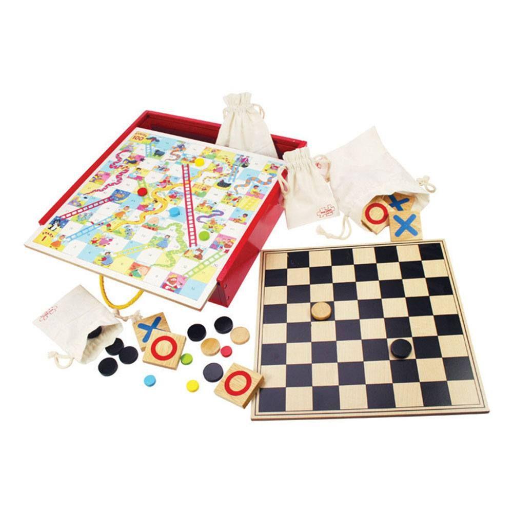 Set 4 jocuri din lemn - Tiddly Winks, Tic Tac Toe, Șerpi și scări, Dame imagine edituradiana.ro