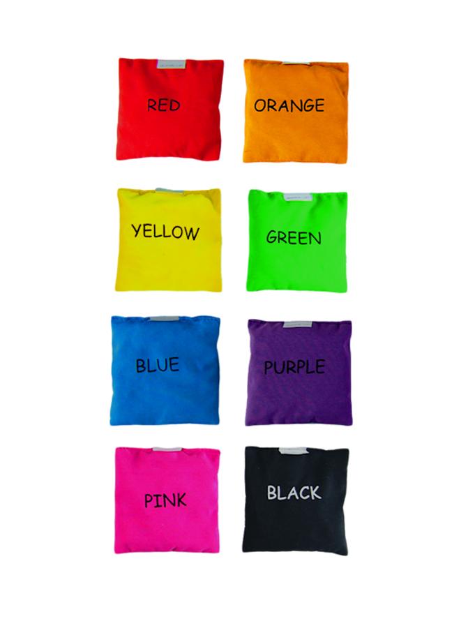 Set 6 pernuțe colorate, umplute cu granule de polistiren, 10 x 10 cm imagine edituradiana.ro