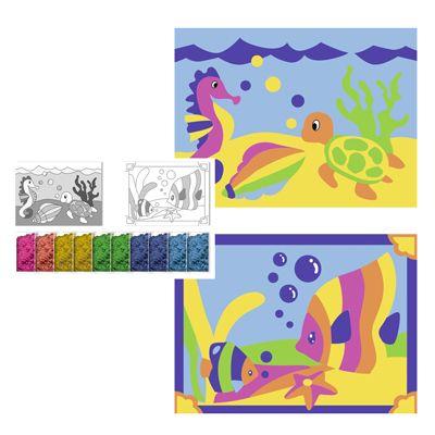 Set creativ cu 2 planșe de colorat cu nisip - Lumea acvatică imagine edituradiana.ro