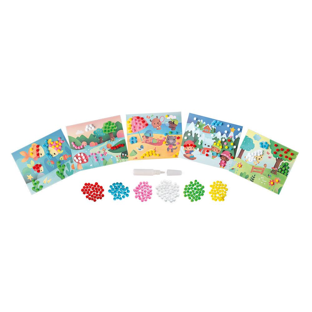 Set creativ cu 5 carduri pentru decorat, 210 pom-pom și 1 tub cu lipici imagine edituradiana.ro