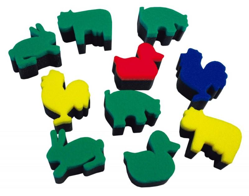 Set de 10 ștampile din burete - Animale de la fermă imagine edituradiana.ro