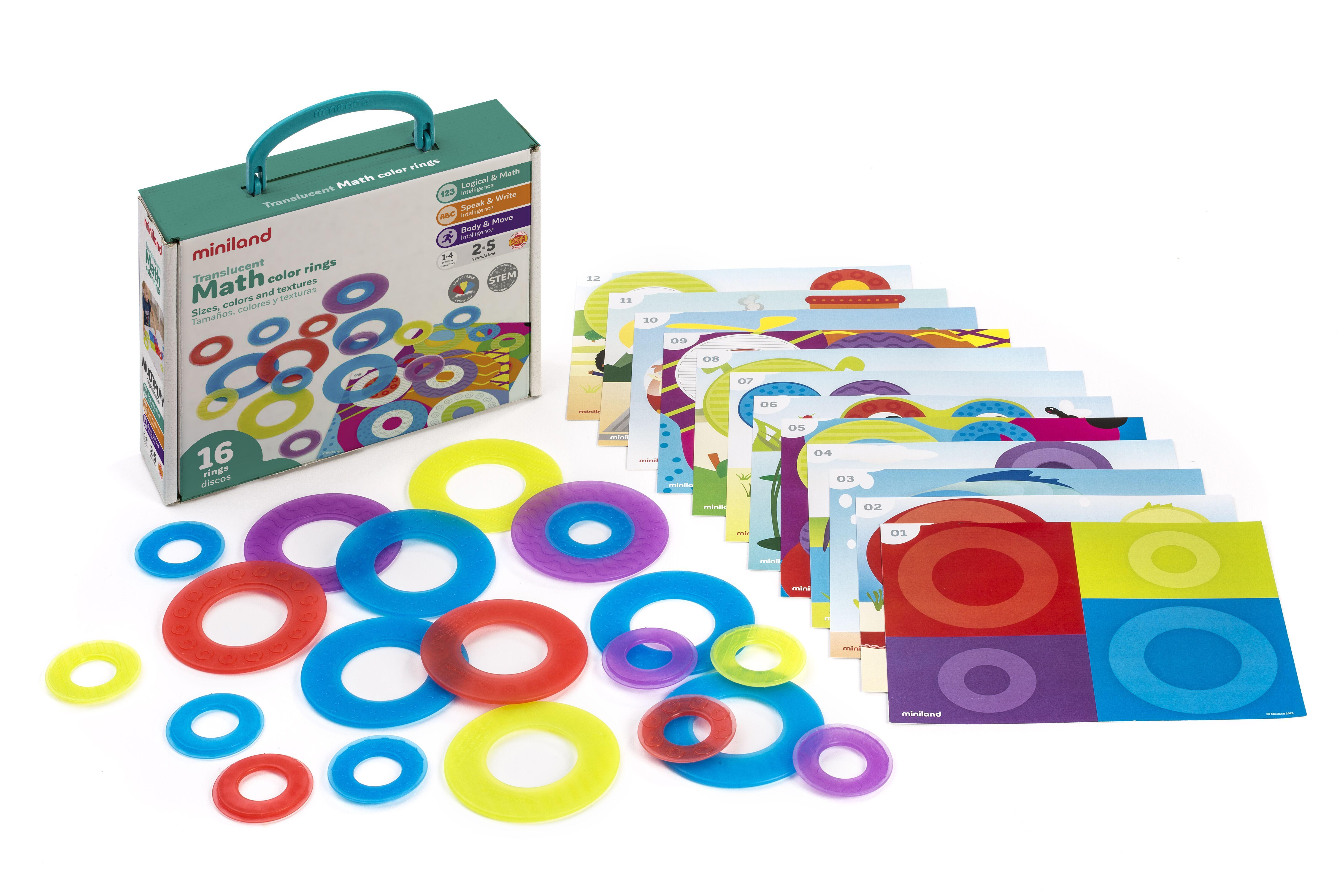 Set de 16 cercuri translucide și 12 carduri pentru activități matematice imagine edituradiana.ro