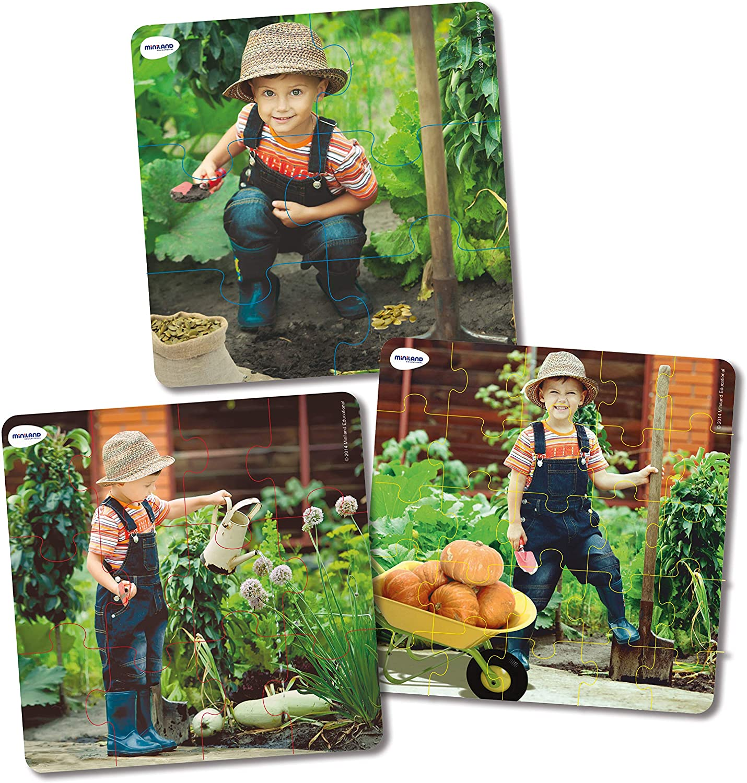 Set de 3 puzzle-uri progresive (6 - 12 - 25 piese) - Ciclul de viață al plantelor imagine edituradiana.ro