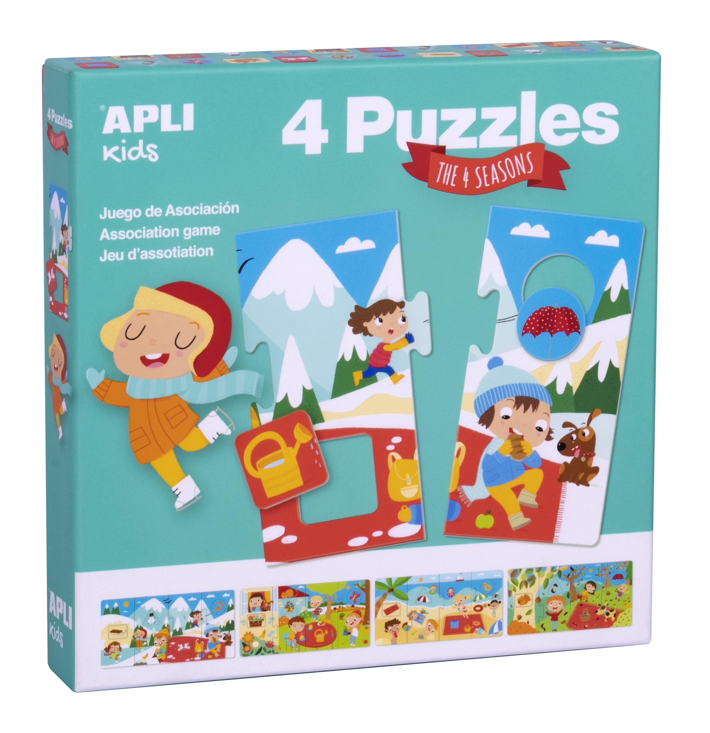 Set de 4 puzzle-uri a câte 4 piese XL - Anotimpuri imagine edituradiana.ro