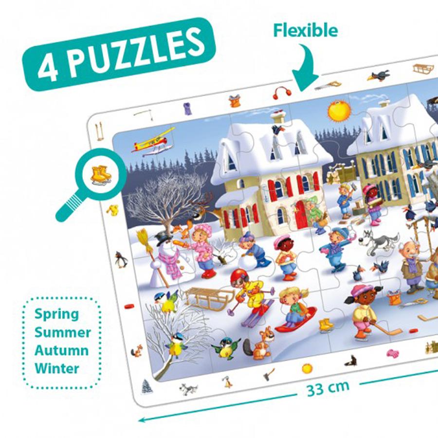 Set de 4 puzzle-uri de observare - Cele 4 anotimpuri imagine edituradiana.ro