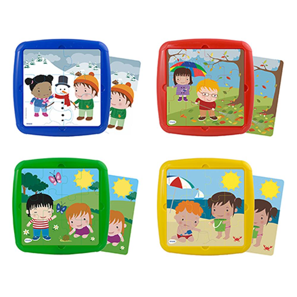 Set de 4 puzzle-uri cu anotimpuri din câte 12 piese și 4 șabloane din plastic imagine edituradiana.ro