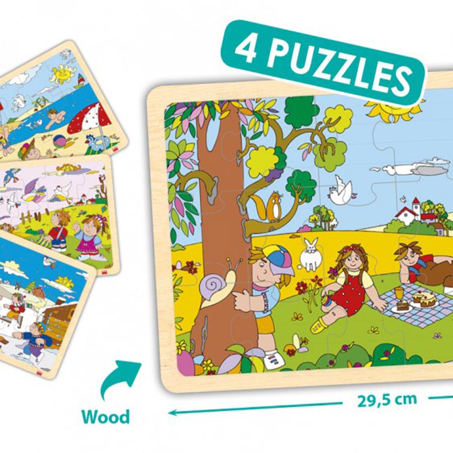 Set de 4 puzzle-uri din lemn - Cele 4 anotimpuri imagine edituradiana.ro