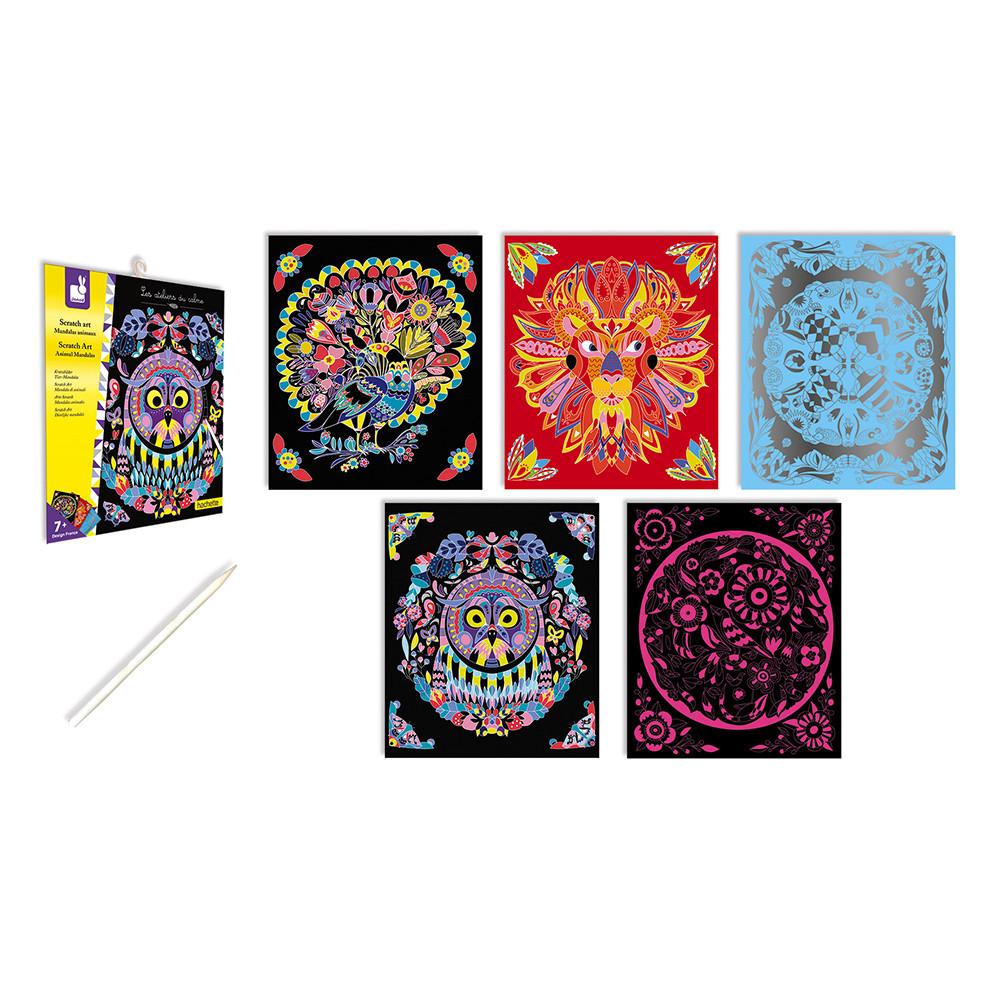 Set de 5 mandale cu animale și 1 creion din lemn pentru răzuit imagine edituradiana.ro
