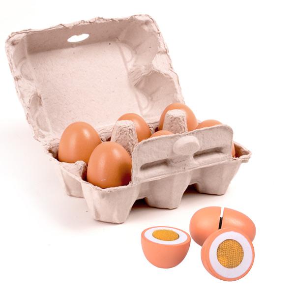 Set de 6 ouă din lemn în cofraj de carton imagine edituradiana.ro