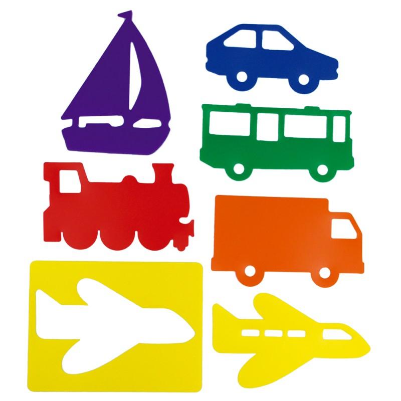 Set de 6 șabloane cu mijloace de transport imagine edituradiana.ro