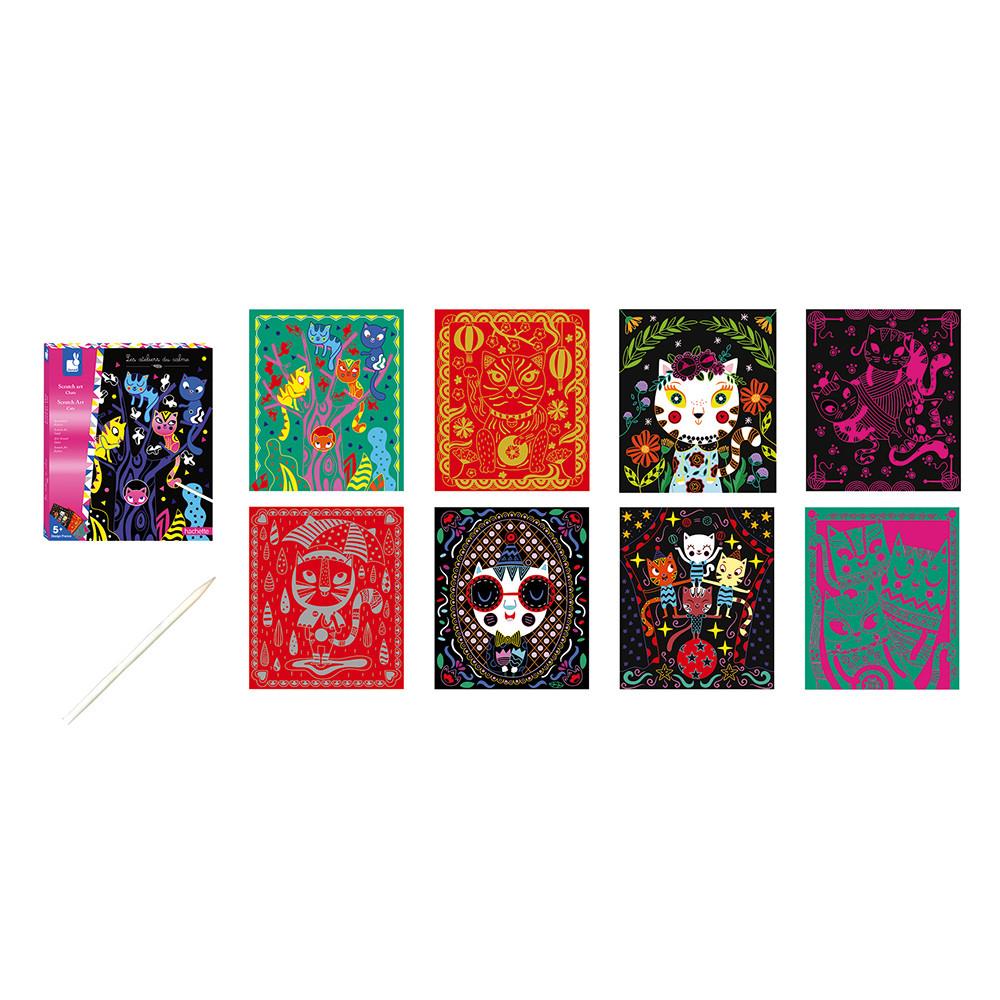 Set de 8 cartonașe cu pisici și 1 creion din lemn pentru răzuit imagine edituradiana.ro
