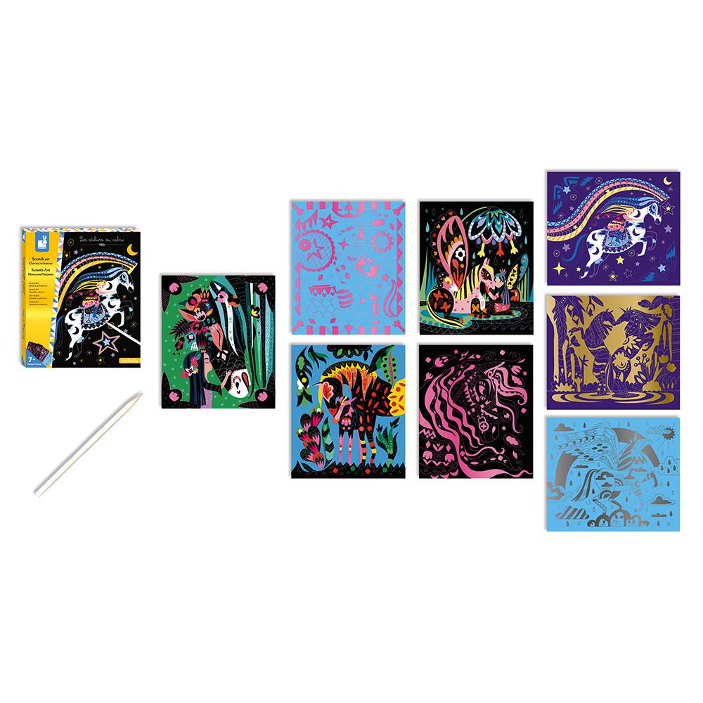 Set de 8 cartonașe cu unicorni și cai & 1 creion din lemn pentru răzuit imagine edituradiana.ro