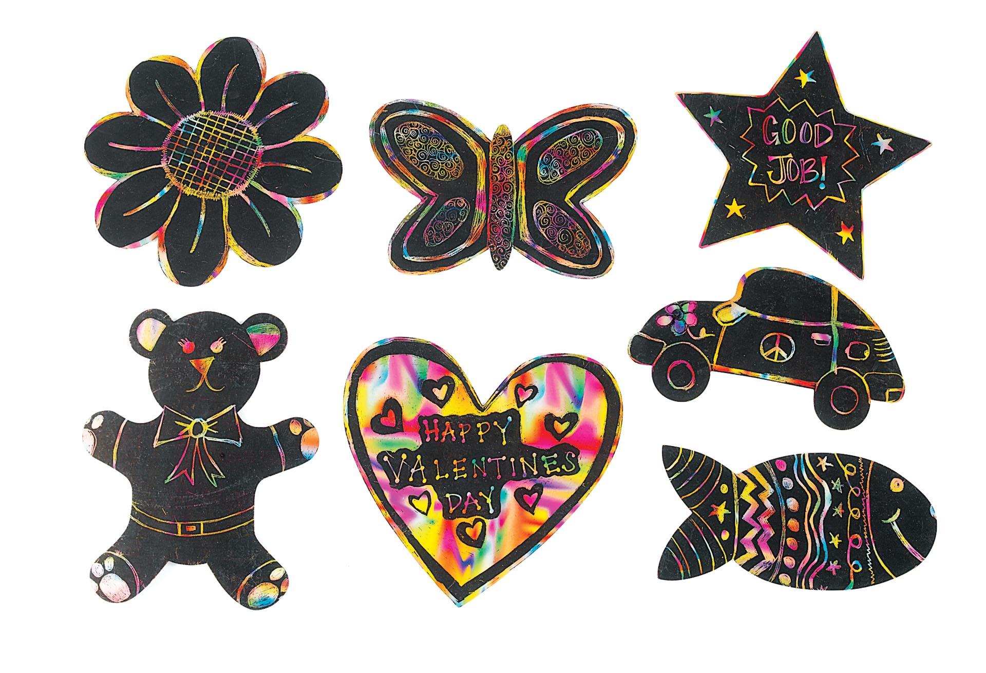 Set de 98 de forme răzuibile negre pentru scratch design, 17 x 18 cm imagine edituradiana.ro