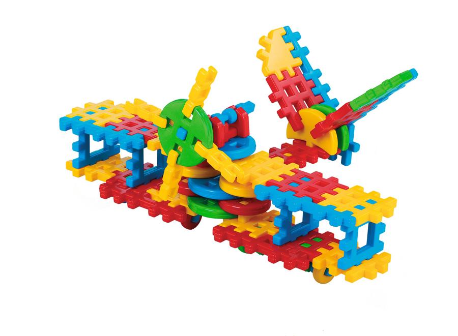 Set de construcții tip vafă cu 70 de piese - Avion imagine edituradiana.ro