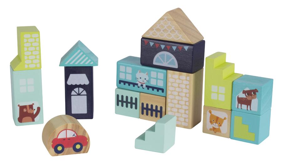 Set de construit cu 16 cuburi din lemn și săculeț de depozitare - Orașul