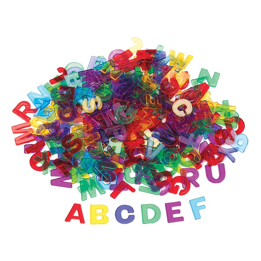 Set de 260 de litere mari de tipar translucide multicolore imagine edituradiana.ro