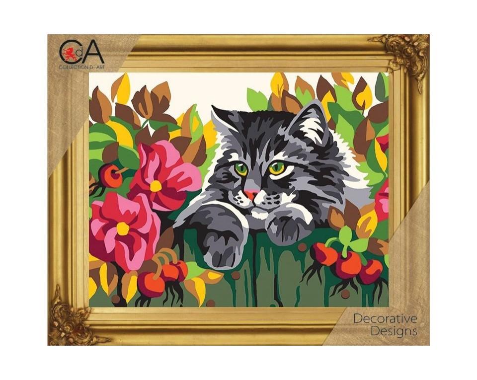 Set goblen imprimat cu ață și ac - Pisicuță printre flori imagine edituradiana.ro