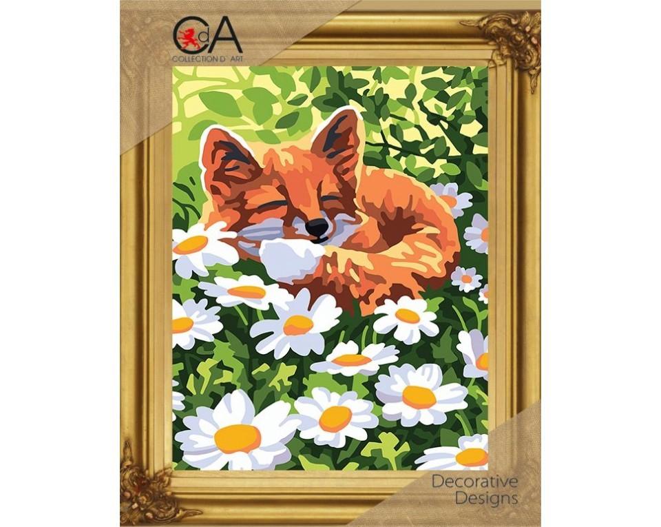Set goblen imprimat cu ață și ac - Vulpiță dormind printre flori imagine edituradiana.ro