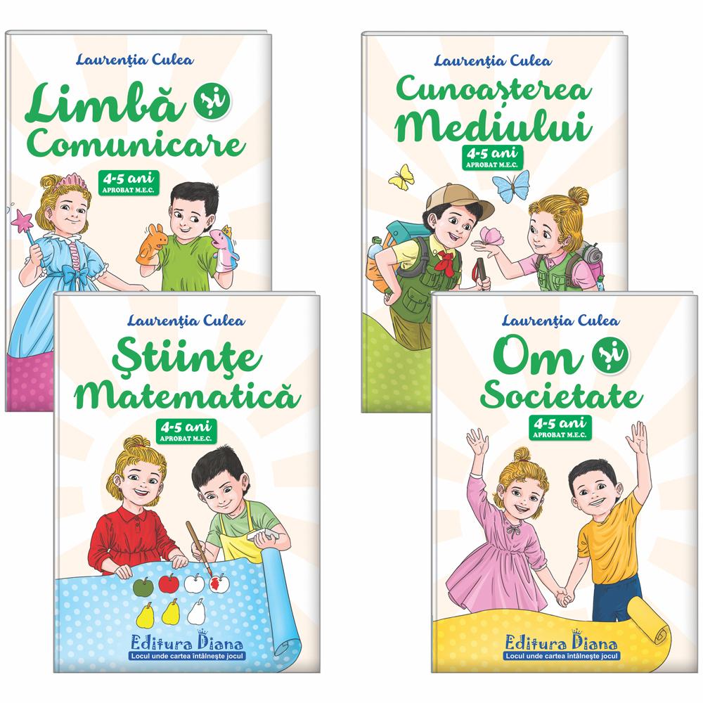 Set patru cărți, A4, grupa mijlocie 4-5 ani (autor L. Culea) - Aprobat MEC imagine edituradiana.ro