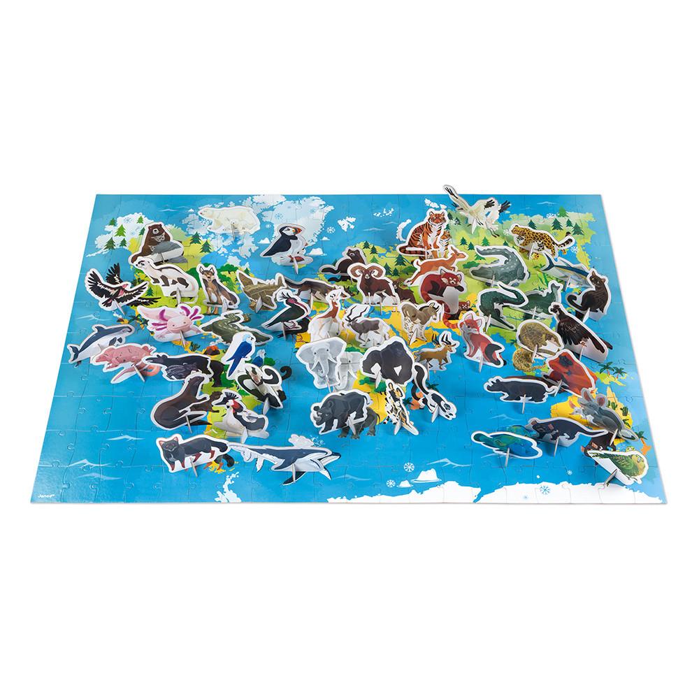 Set Puzzle uriaș din carton cu 200 de piese, 50 de animale 3D și 1 poster - Animale pe cale de la dispariție