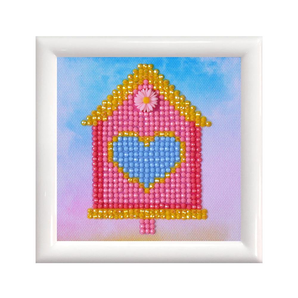 Set tablou cu diamante și ramă - Căsuță de pasări, 9 x 9 cm imagine edituradiana.ro