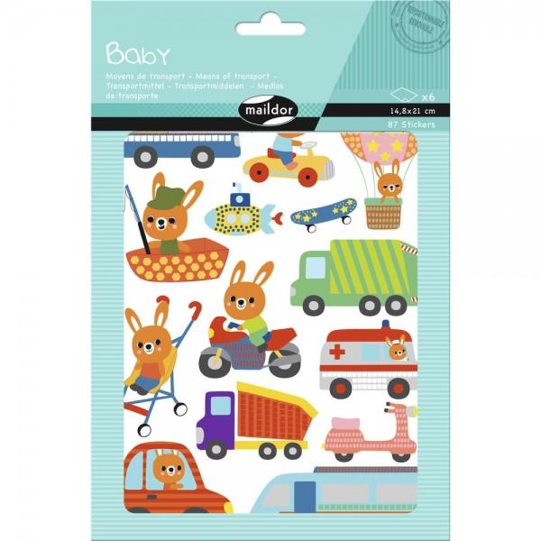 Set 87 de stickere decorative - Mijloace de transport imagine edituradiana.ro