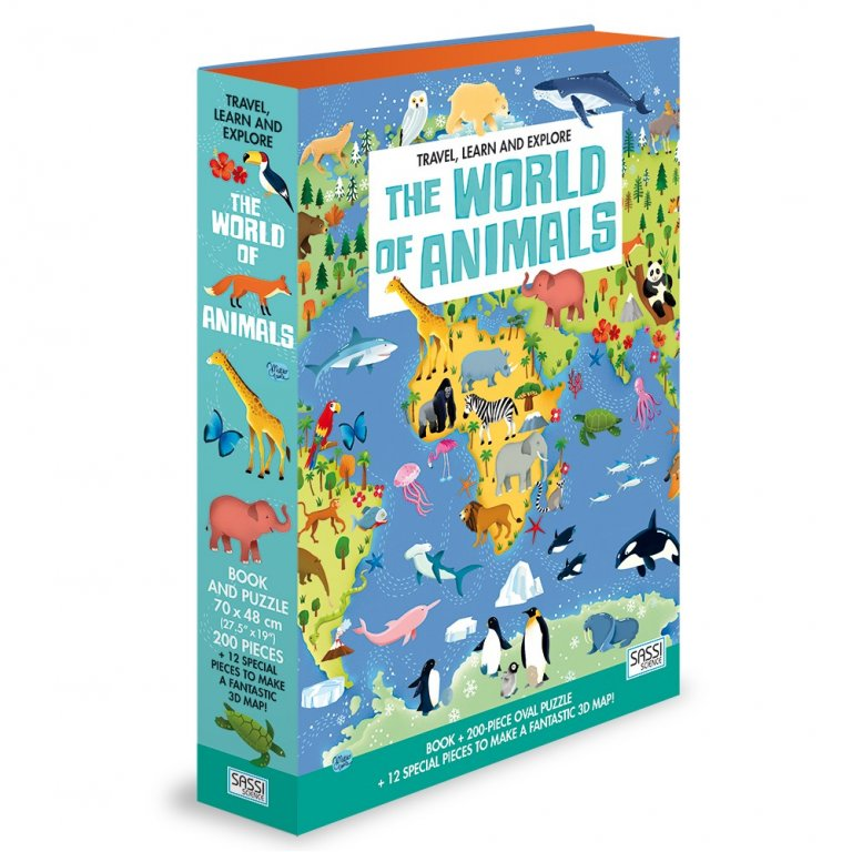 Set carte + puzzle oval cu 200 de piese - Lumea animalelor imagine edituradiana.ro