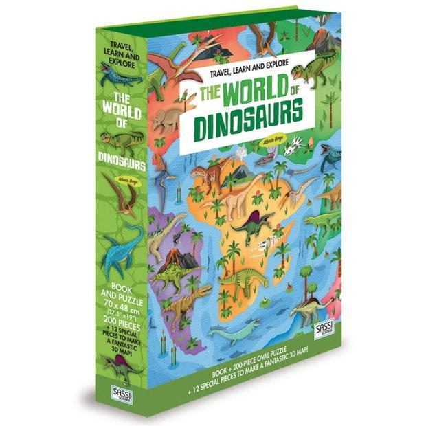 Set carte + puzzle oval cu 200 de piese - Lumea dinozaurilor imagine edituradiana.ro