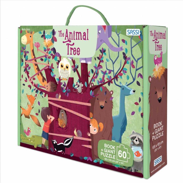 Set carte + puzzle uriaș cu 60 de piese - Copacul cu animale imagine edituradiana.ro