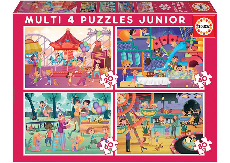 Set de 4 puzzle-uri progresive (20-40-60-80 de piese) - Atracții din parc + Petrecerea copiilor imagine edituradiana.ro