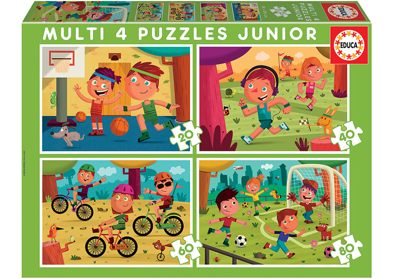 Set de 4 puzzle-uri progresive (20-40-60-80 de piese) - Sporturi imagine edituradiana.ro