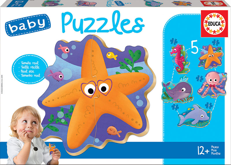 Set de 5 puzzle-uri progresive - Animale marine (2-4 piese) imagine edituradiana.ro