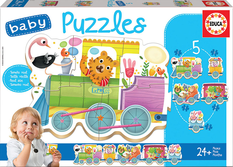Set de 5 puzzle-uri progresive - Trenuleț cu animale (2-5 piese) imagine edituradiana.ro