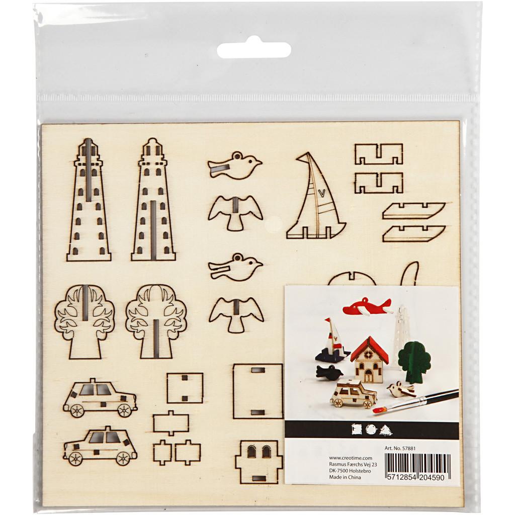 Set de 7 puzzle-uri 3D din lemn pentru decorat imagine edituradiana.ro