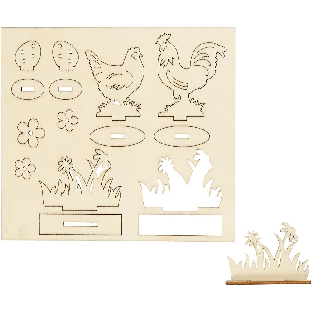 Set de 8 puzzle-uri din lemn pentru decorat - De Paște imagine edituradiana.ro